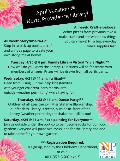 Flyer for April Vacation programs at the library