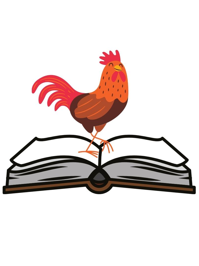 Icon for Tuesday book club; rooster standing on open book